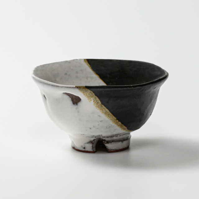 萩焼(伝統的工芸品)飯碗小掛分け(鬼白荒竹&黒釉)朝顔