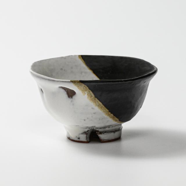 萩焼(伝統的工芸品)飯碗小掛分け(鬼白荒竹&黒釉)朝顔No321