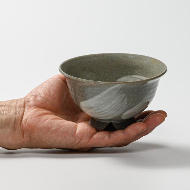 萩焼(伝統的工芸品)飯碗大刷毛青朝顔No343