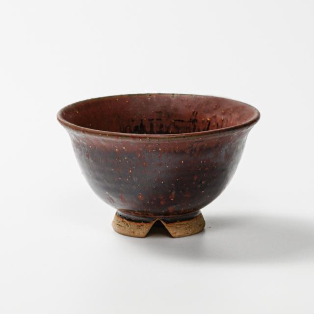 萩焼(伝統的工芸品)飯碗大鉄赤釉荒朝顔No350
