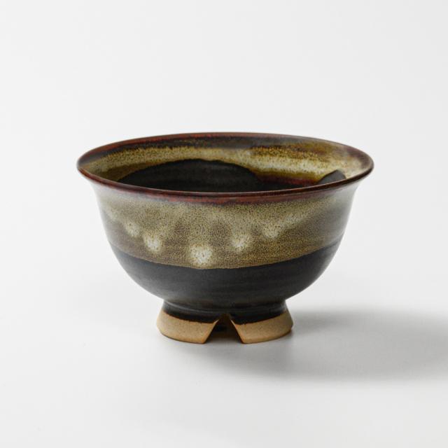 萩焼(伝統的工芸品)飯碗大掛分け(黒釉&わら)朝顔