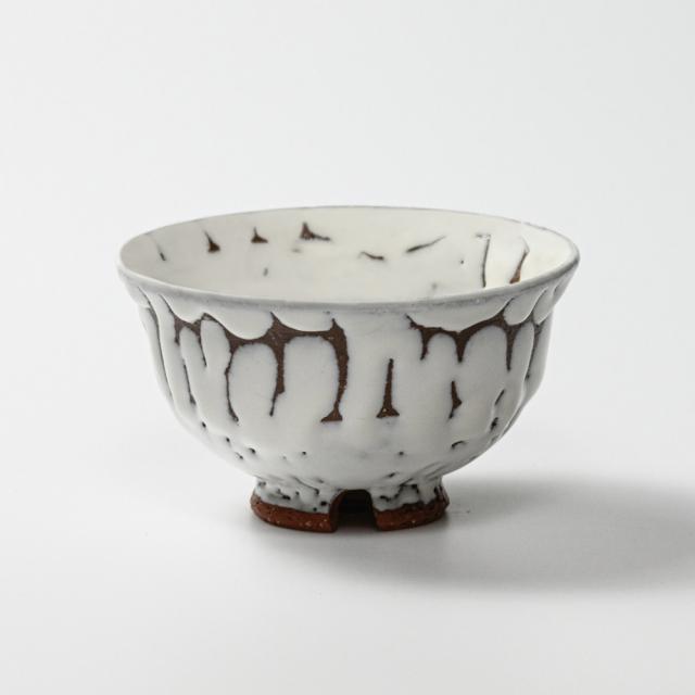 萩焼(伝統的工芸品)飯碗大鬼白松朝顔No352