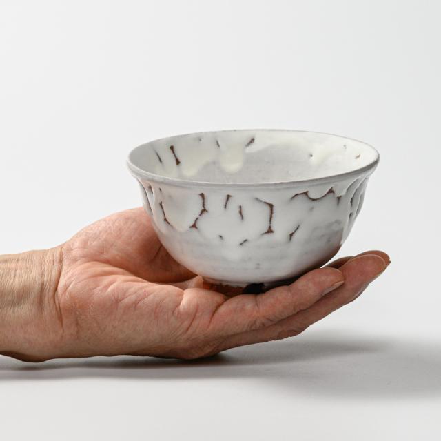 萩焼(伝統的工芸品)飯碗大鬼白竹朝顔No353