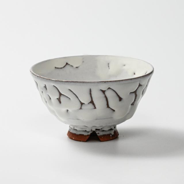 萩焼(伝統的工芸品)飯碗大鬼白松末広No354