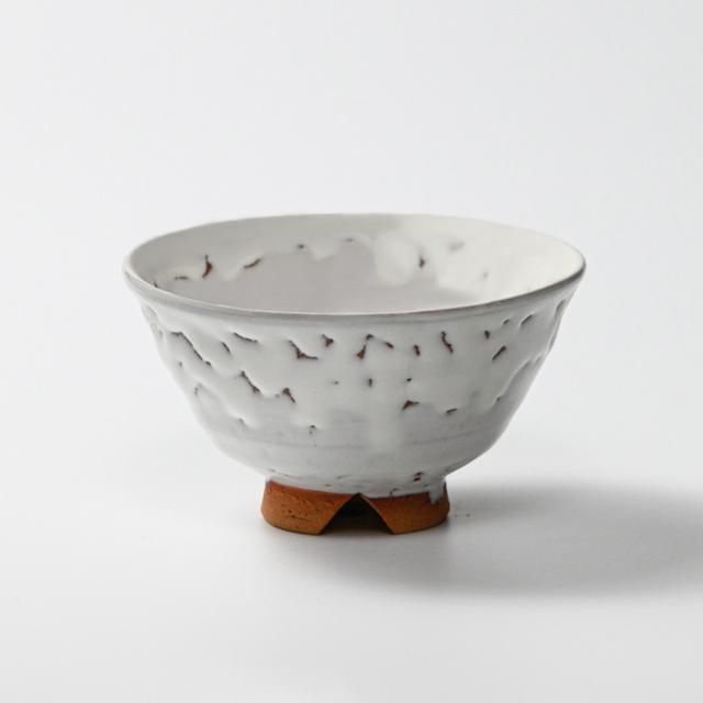 萩焼(伝統的工芸品)飯碗大鬼白竹末広No355