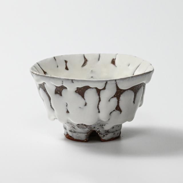 萩焼(伝統的工芸品)飯碗大鬼白荒松朝顔No356
