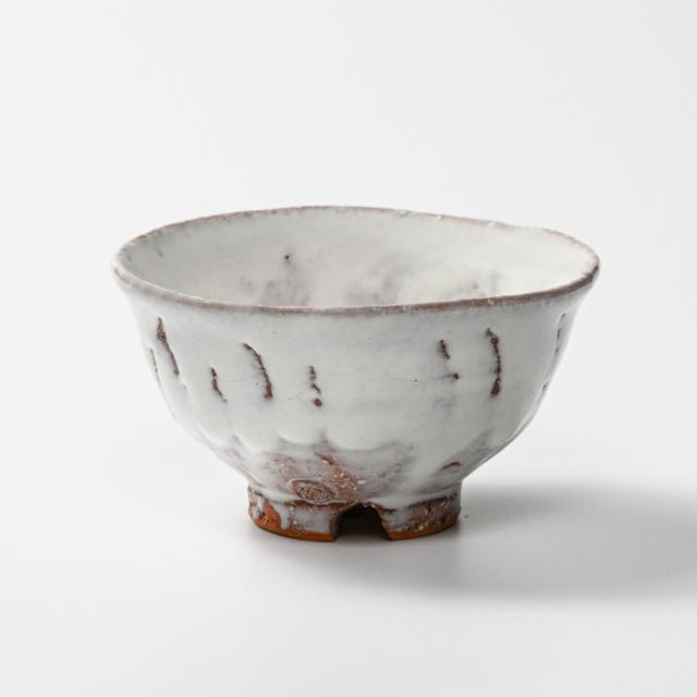 萩焼(伝統的工芸品)飯碗大鬼白荒竹朝顔No357