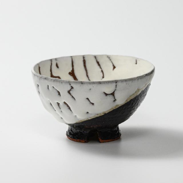 萩焼(伝統的工芸品)飯碗大掛分け(鬼白荒竹&黒釉)呉器No359