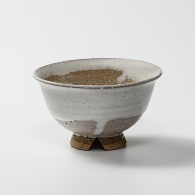 萩焼(伝統的工芸品)飯碗大白萩掛分け朝顔No361