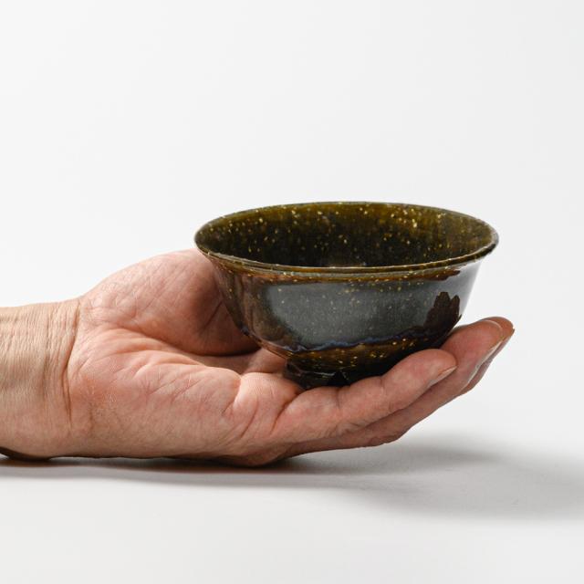 萩焼(伝統的工芸品)飯碗極小鉄青釉朝顔No381