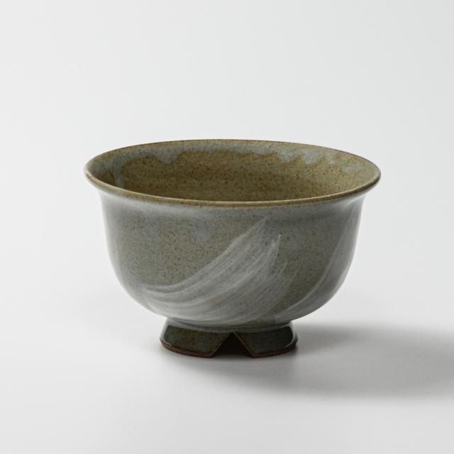 萩焼(伝統的工芸品)汁碗刷毛青朝顔No402