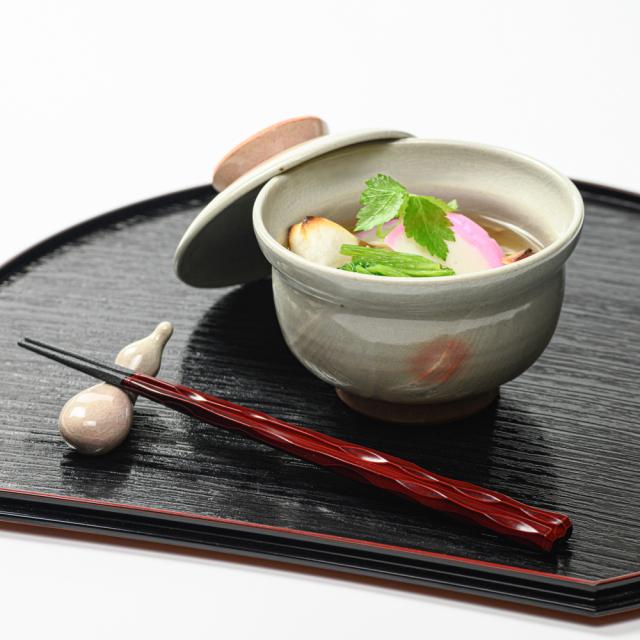 萩焼(伝統的工芸品)蓋付碗刷毛姫丸No411