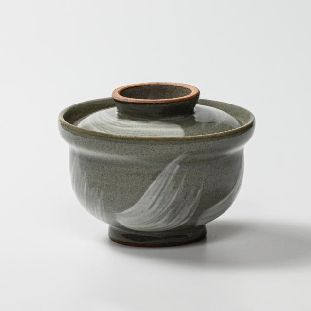 萩焼(伝統的工芸品)蓋付碗刷毛青丸No412