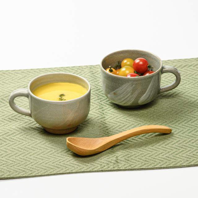 萩焼(伝統的工芸品)スープカップ刷毛姫筒No421