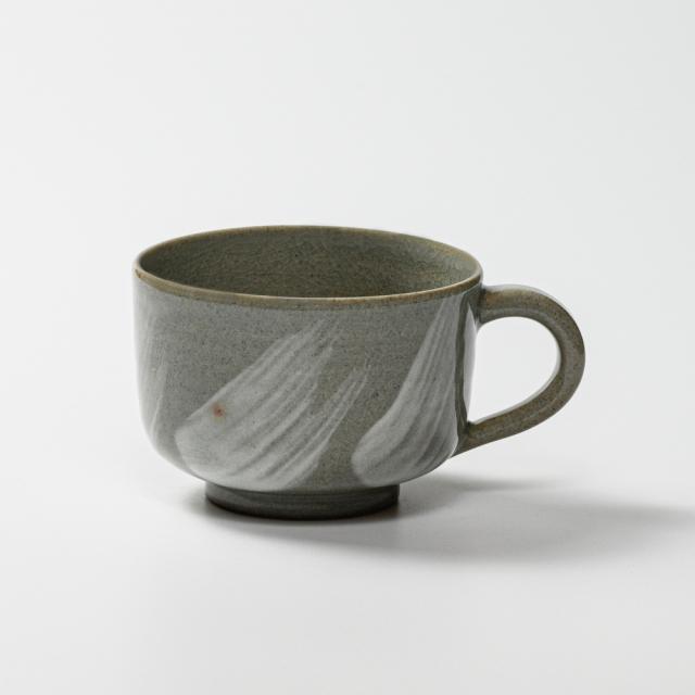 萩焼(伝統的工芸品)スープカップ刷毛青筒No422