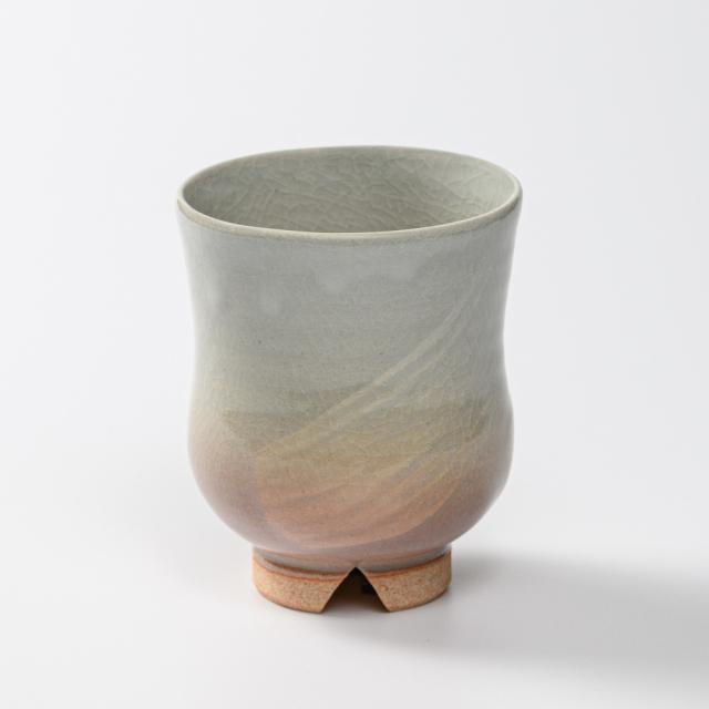 萩焼(伝統的工芸品)湯呑大刷毛姫胴締