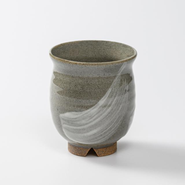 萩焼(伝統的工芸品)湯呑大刷毛青丸No44