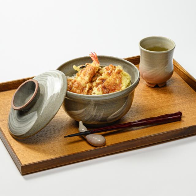 萩焼(伝統的工芸品)蓋付どんぶり刷毛青丸No452