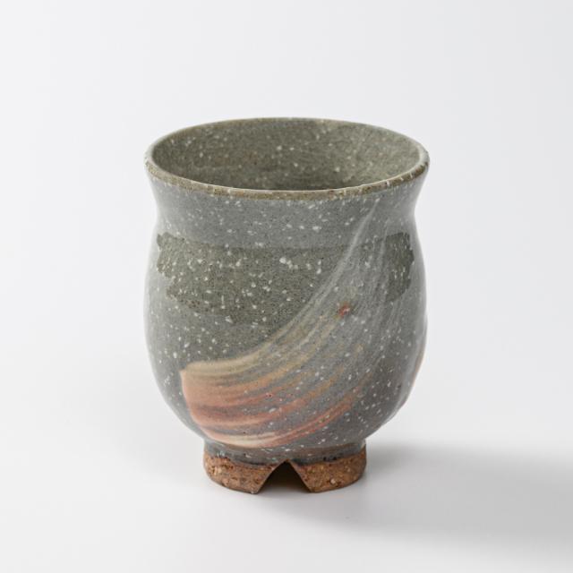 萩焼(伝統的工芸品)湯呑大刷毛青荒丸No47