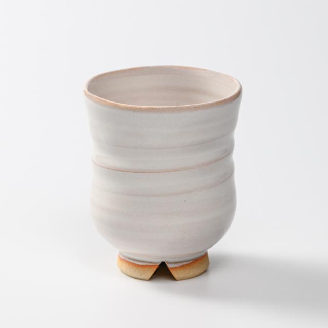 萩焼(伝統的工芸品)湯呑大白姫胴締