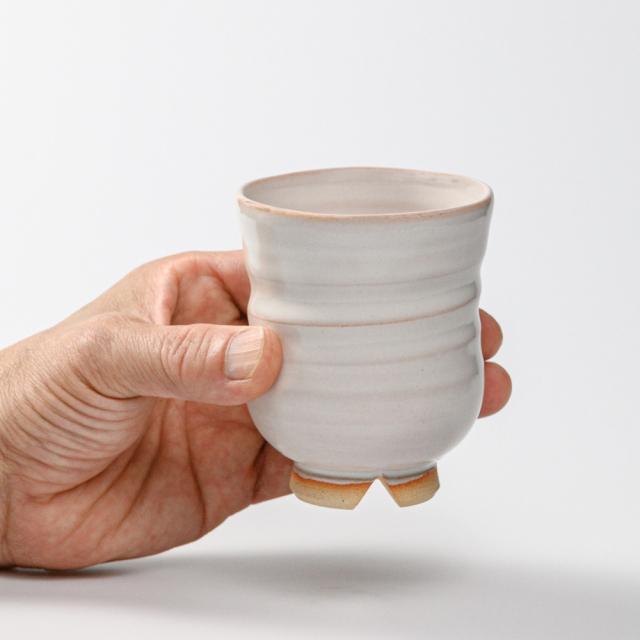 萩焼(伝統的工芸品)湯呑大白姫呉器胴締