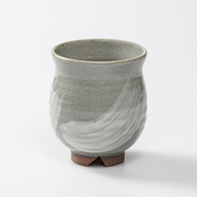 萩焼(伝統的工芸品)湯呑小刷毛青丸No4