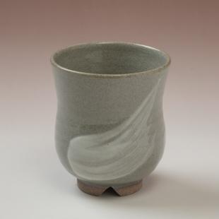 萩焼(伝統的工芸品)湯呑刷毛青胴締