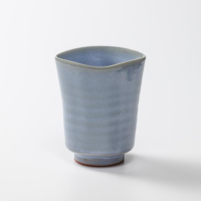 萩焼(伝統的工芸品)タンブラー小淡青釉四方No5008