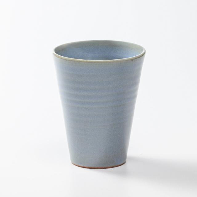 萩焼(伝統的工芸品)タンブラー大淡青釉筒碁笥底
