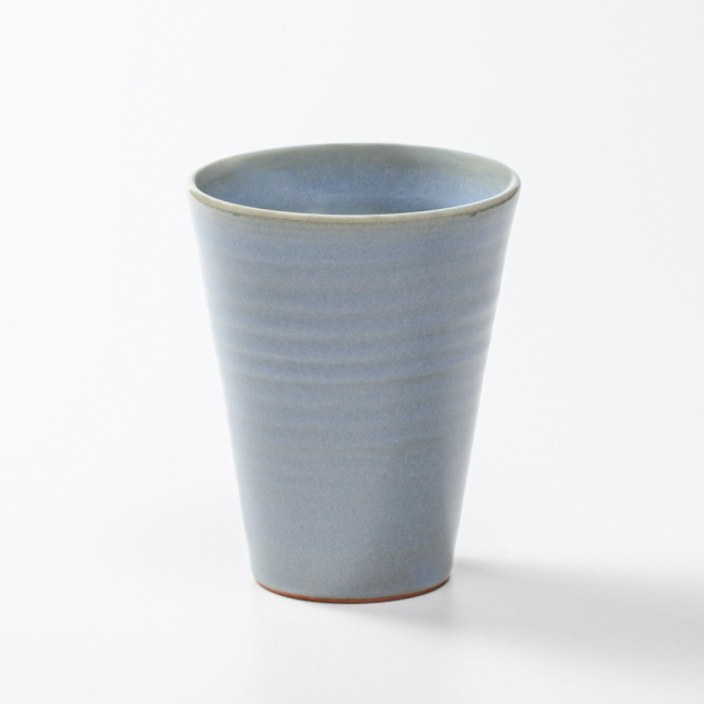 萩焼(伝統的工芸品)タンブラー大淡青釉筒碁笥底No5010