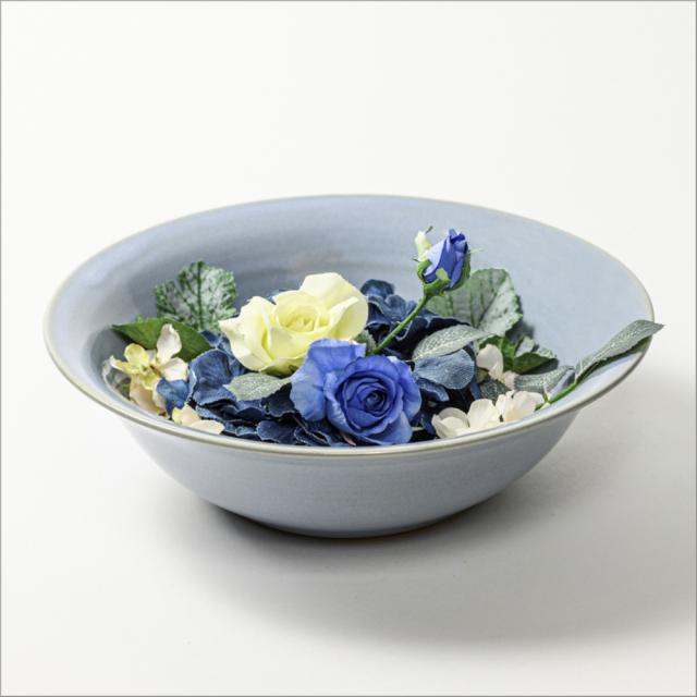 萩焼(伝統的工芸品)水盤淡青釉朝顔