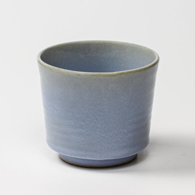 萩焼(伝統的工芸品)フラキャンポット大淡青釉筒穴有り