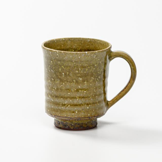 萩焼(伝統的工芸品)マグカップ緑星釉筒