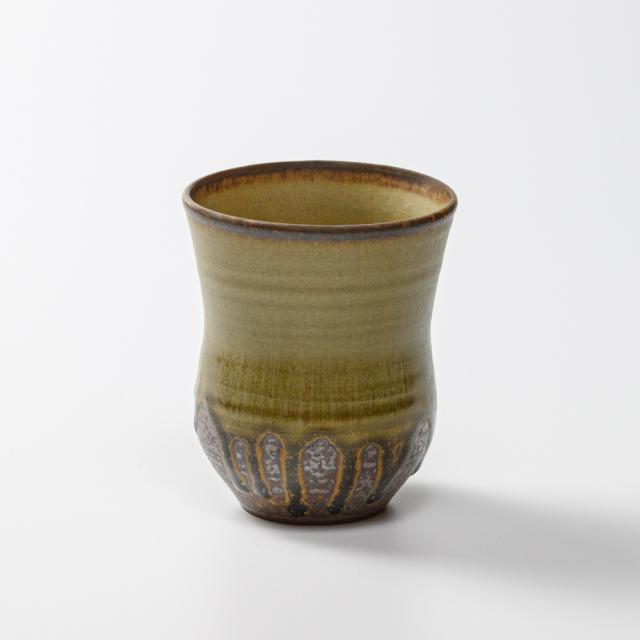 萩焼(伝統的工芸品)タンブラー小緑星釉胴締碁笥底No5037