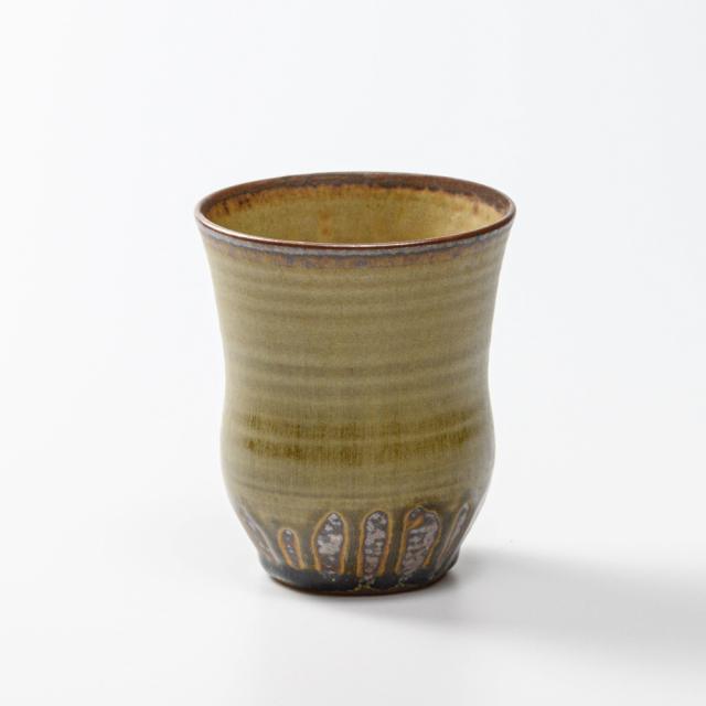 萩焼(伝統的工芸品)タンブラー大緑星釉胴締碁笥底No5038