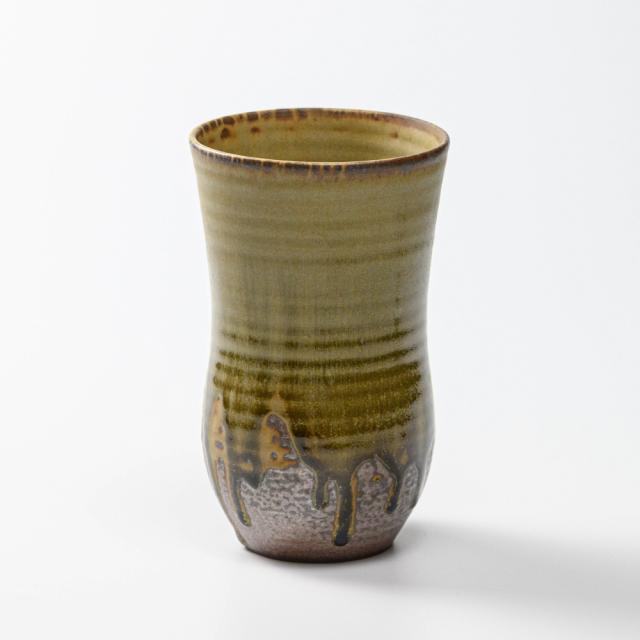 萩焼(伝統的工芸品)タンブラー特大緑星釉A胴締碁笥底No5040