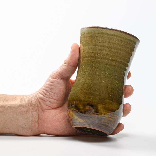 萩焼(伝統的工芸品)タンブラー特大緑星釉N胴締碁笥底No5041