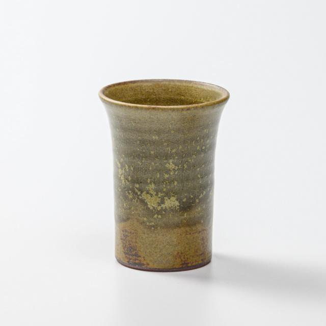 萩焼(伝統的工芸品)ミニタンブラー緑星釉端反碁笥底No5042