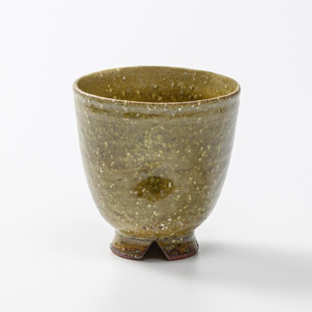 萩焼(伝統的工芸品)フリーカップ緑星釉呉器えくぼNo5043