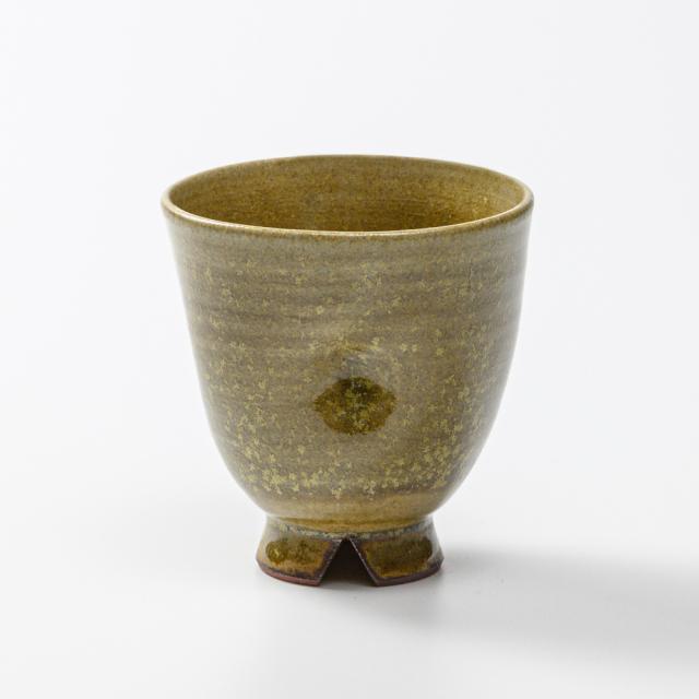 萩焼(伝統的工芸品)フリーカップ緑星釉細呉器えくぼNo5044