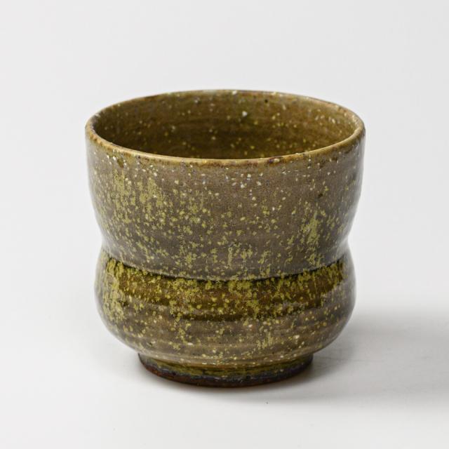 萩焼(伝統的工芸品)フラキャンポット大緑星釉胴締穴有り