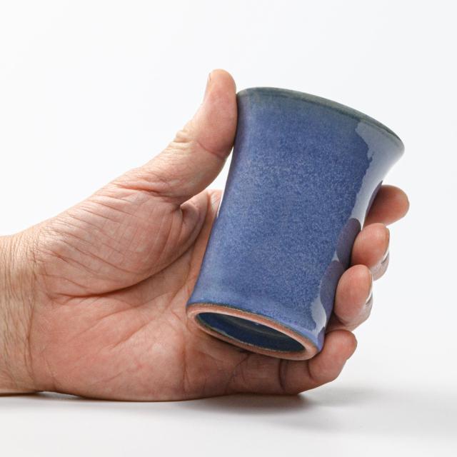 萩焼(伝統的工芸品)ミニタンブラー青釉端反碁笥底No5068