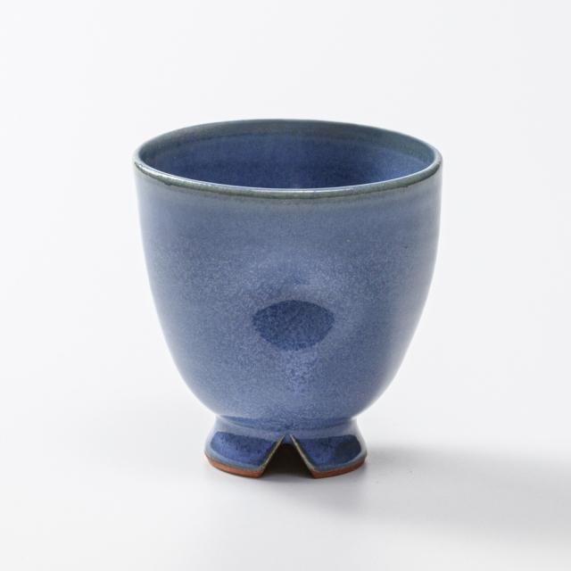 萩焼(伝統的工芸品)フリーカップ青釉呉器えくぼ