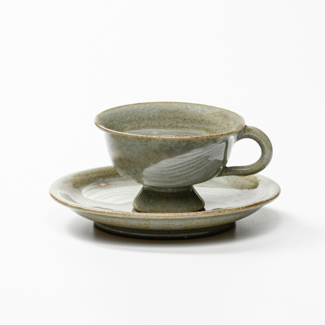 萩焼(伝統的工芸品)カップ&ソーサ刷毛青平高付