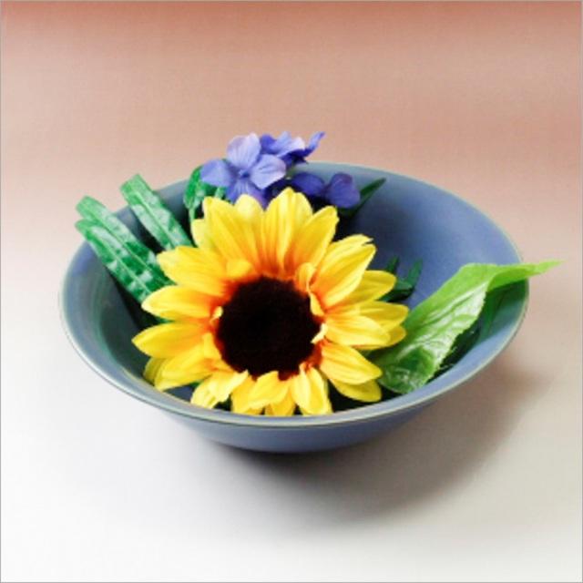 萩焼(伝統的工芸品)水盤青釉朝顔