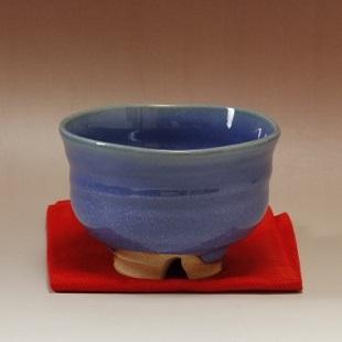 萩焼(伝統的工芸品)抹茶碗上青釉端反