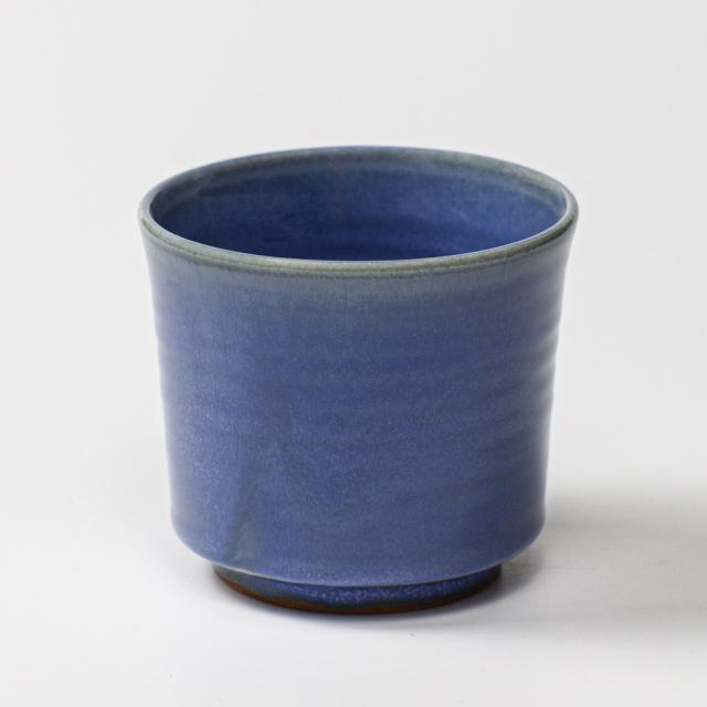 萩焼(伝統的工芸品)フラキャンポット大青釉筒穴有り