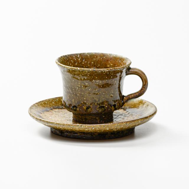 萩焼(伝統的工芸品)カップ&ソーサ緑釉端反No508