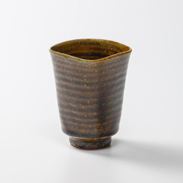 萩焼(伝統的工芸品)タンブラー小飴釉四方No5097