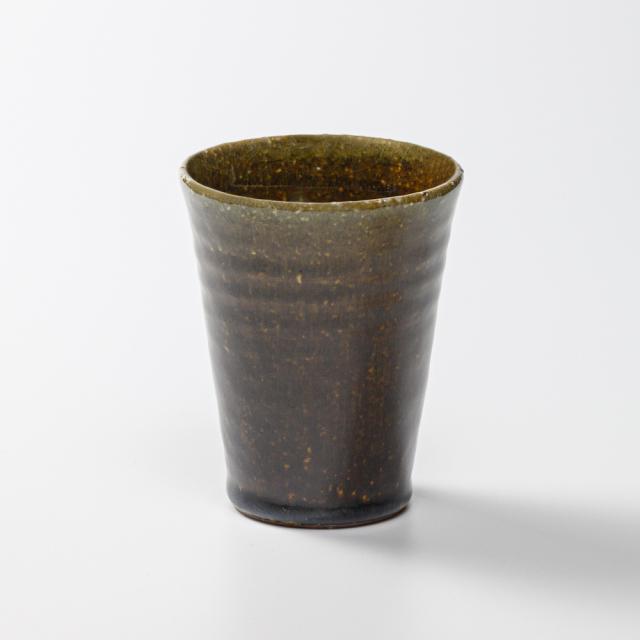 萩焼(伝統的工芸品)タンブラー小飴釉筒碁笥底